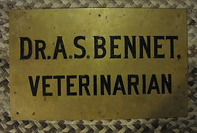 Fab Circa 1900 Brass Veterinary Sign Doctor Bennet