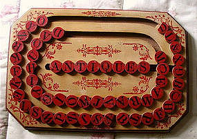 1886 Patent Wooden School ABC Alphabet Spelling Board