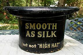19thC Kessler's SMOOTH AS SILK WHISKEY Top Hat Sign
